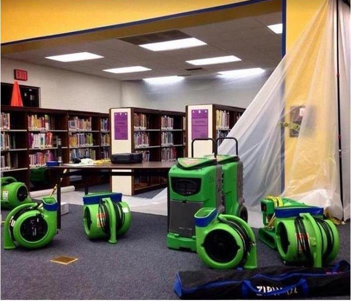 SERVPRO equipment drying water damaged library
