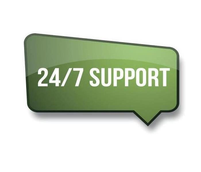 "A green bubble with a message "" 24/7 SUPPORT."""