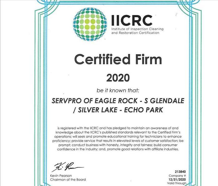paper certificate from IICRC